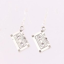 Wholesale Antique Silver Music Cassette Tape Earrings Silver Fish Ear Hook Chandelier E258 x16 mm
