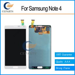100% New Original LCD For Samsung Galaxy Note 4 N9100 N910F SM-N910 N910X Screen Touch Digitizer with frame complete White and Grey color
