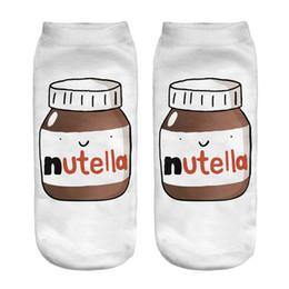 Wholesale Fashion D Printed Socks White Peanut Butter Bottle Nutella Women Unisex Cute Low Cut Ankle Socks Women Sock Casual Socks