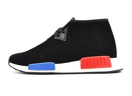 Wholesale 36 Top quality NMD C1 Original Boost Chukka shoes for man and women with original box Pig leather bar