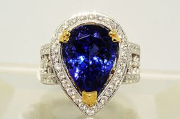 Wholesale 10 Ct Pear Cut quot AAA quot Tanzanite Diamond Cocktail Ring VS K Gold