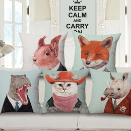 fun animals home decor fox cojines cat in hat almofada creative throw pillow case for sofa chair bed