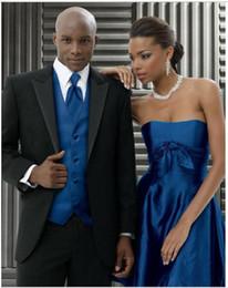 New Style Black Jacket And Blue Pants Groom Tuxedos Men Linen Suit Formal Prom Suits (Jacket+Pants+Vest+Tie)
