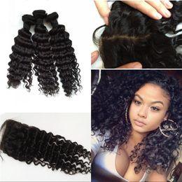 Wholesale 3 wefts with silk base closure Asian deep wave human hair natural color virgin hair fast shipping