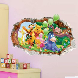 Wholesale Cartoon Winnie the Pooh Wall Stickers Nursery Kids Room Home Decor Mural Decal in stock
