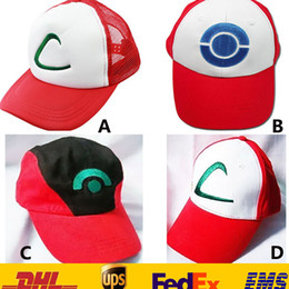 Wholesale DHL New Unisex Poke Ash Ketchum Trainer Hat Cap Adult Mesh Ball caps Adult Costume Cartoon Mesh Trucker baseball hockey Sneaker Hat GD C02