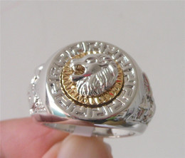 Men's Ring Cool Lion Eagle Star 18K White Gold Plated Ring. size:8-11.Free Shipping. Retail and wholesale