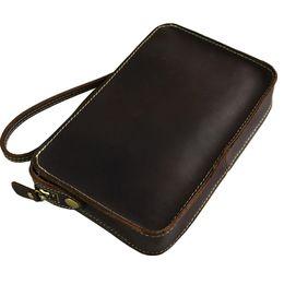 Wholesale Crazy Horse Ipad Mini - Wholesale-Vintage crazy horse leather Messenger bag iPad mini Bag Envelope leather shoulder bag Men leather Clutch wallet Bag fast post