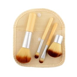 Wholesale Four makeup brush brush sets Bamboo handle beauty makeup tools With gunny bag manufacturer Bamboo handle GUJHUI manufacturing