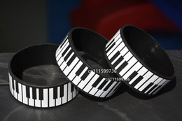"25pcs lot Piano Keys Wristband, Full Keyboard Bracelet for Music Fan, 1"" Wide"