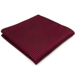 UH25 Solid Checked Burgundy Crimson Red Black Handkerchiefs Neckties Silk Hanky Pocket Square Silk Big Size Wedding