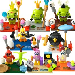 Wholesale 8Pcs Set Birds Movie Cartoon Block Minifigures BOMB PIG PIGGY RED YELLOW PINK Chuck Building Blocks kid toys bricks SL8930