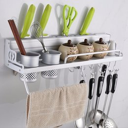 Wholesale Long Aluminum Kitchen Storage Rack Pantry Pan Pot Organizer Cookware Holder Hooks Spice Dinnerware Shelf cm