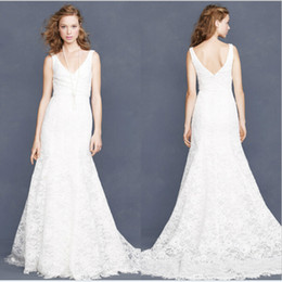 New Brand Attractive V-neck Design Sleeveless Mermaid Wedding Lace Dress Sweep Train Zip Back Vestido de noiva