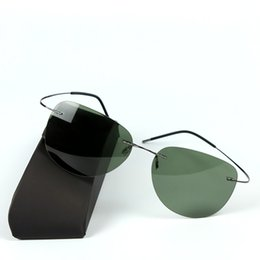 Wholesale-100% Titanium Silhouette Polaroid super Light Brand Designer sunglasses Rimless Polaroid Gafas Men Polarized Sun glasses eyewear