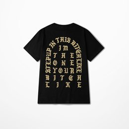 Wholesale KANYE WEST I Feel Like Pablo Paris T Shirt Black Githic Print T shirts Short Sleeve hiphop tshirt Men Women Rap Tee YHDX1115XX