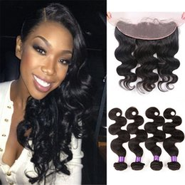 Body Wave Human Hair Weaves With 13x4 Lace Frontal 4Pcs Lot Ear To Ear Lace Frontal With Hair Weaves