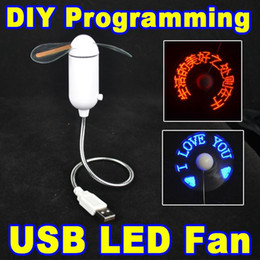 Wholesale High quality New USB Gadgets DIY Programmable Fan Flexible usb LED Fan Light Can Reprogramme Any Text Words Advertising Character Messages