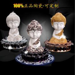 Wholesale Hot Selling Car Perfume Seat Decoration Accessory Lotus Base Redware Ceramic Buddha Handmade Stick Crystal Drill Air Freshener