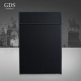 Wholesale-Gardensun A4 leather office desk file paper clip drawing & writing board pad tablet file folder with paper clip Black