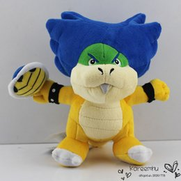 "Wholesale Stuffed Green Turtle - 3PCS Lot Super Mario Koopa Ludwig With Blue Turtle Shell Stuffed Plush Toys With Tag 8""20cm Free Shipping"