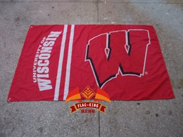 Wholesale polyester cm Wisconsin logo Educational institution flag Digital Printing University of Wisconsin banner