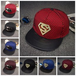 Wholesale LJJG275 Superman Batman Hat Super Hero Hats Models Bat man Baseball Cap Superhero Mesh Hat Snapback Caps