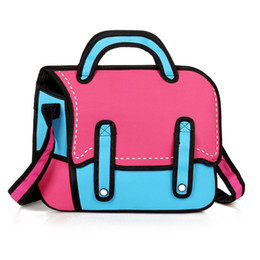 Wholesale-3D Jump Style 2D Drawing From Cartoon Paper Bag Comic Messenger Bag 4 Colors