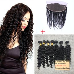 Brazilian Hair Bundles 5pcs Double Weft with Closure Human Hair Extensions Dyeable Hair Weaves Closure Kinky Curly Wavy Free Shipping