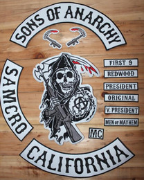 Wholesale Sons of Anarchy Embroidery Twill Patches For Jacket Motorcycle Biker Full Size And Full Set SOA Black Blue Patches