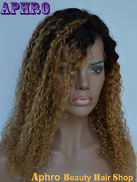 Stock 8A Brazilian Kinky Curly Hair Ombre Full Lace Silk Top Wigs 130% Density Pure Human Hair Blonde Two Tone Lace Front Wigs Sale