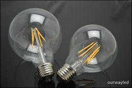220V G80 G95 Vintage Glass Edison E27 E26 LED Light Bulb Energy Saving 4W 6W 8WFinament Led Bulb Gold Clear Cover
