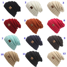 Wholesale DHL Winter Knitted Woolen CC Trendy Hat Label Fedora Luxury Cable Slouchy Hats Fashion Beanies Thick Warm Hat Outdoors New Mens Women