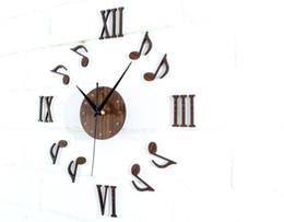 Wholesale 3 Piece Musical Note Combination DIY Wall Clock Creative Acrylic Wall Clock Background Wall Clock Music Dancing Style