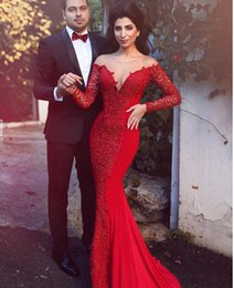 Wholesale Elegant Red Long Sleeve Evening Dresses Mermaid Sweetheart Lace Chiffon Evening Gowns Formal Special Occasion Dress Women Abendkleider