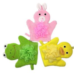 Wholesale Cartoon Animals Kids Bath Mitten Buddy Duck Frog Rabbit Monkey Fun Children Baby Washing Bath Gloves Rub Towel
