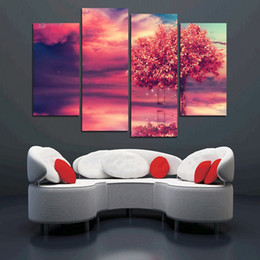Modern red tree 4PCS paintings beautiful landscape Wall painting for home decorative wedding decoration art pictures No framed