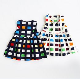 Wholesale Sleeveless Mosaic Dress - 2016 Baby Girls Plaid Vest Dress Mosaic Childrens Fashion Clothing Girls Pretty Princess Dress Flower Girls Party Dress K7707