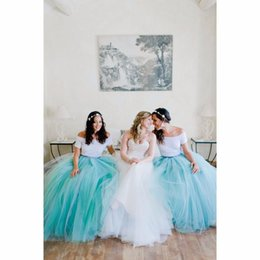 Wholesale Bridesmaid Tutu Skirts Cheap Ball Gown Mint Color Tulle Skirt vestido de dama de honra Bridesmaid Maid Of Honor Women s Skirts