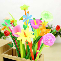 12 pieces  Beautiful Flower Gel Pens Writing Pens Sign Pen School Office Supplies Promotional Pens Papelaria Cute Prize Gifts Free Shipping