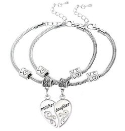 Wholesale 5Set Antique Silver Mother Daughter Love Heart Pendant Charm Bracelet Bangle Fashion Jewelrys AS Holiday Gift