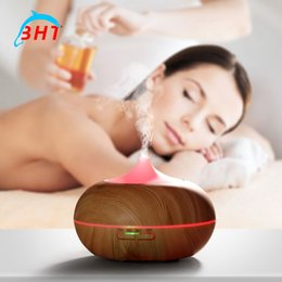 Wholesale Mini Aromatherapy ultrasonic essential oil diffuser aroma humidifier fogger Cool Mist Fresh Air Spa humidistat home Light Wooden