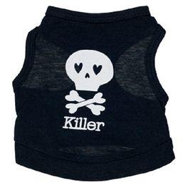 Fuentes del perro muelles en Línea-Cráneo de verano Killer perro chaleco de algodón negro perro ropa esquelética perro ropa fuente de suministro barato