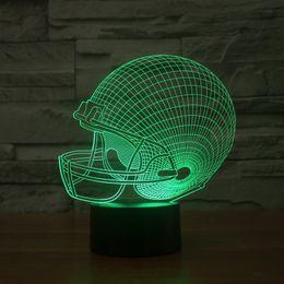 2017 Rugby Hat 3D Optical Lamp Night Light 9 LEDs Night Light DC 5V Colorful 3D Lamp
