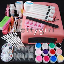 Wholesale Pro W UV Dryer Lamp colored uv gel Glitter Powder French Nail Art Tips Gel Tools DIY Set