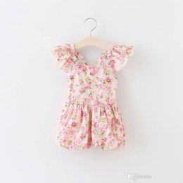 Wholesale Baby Girls One Pieces Lace Romper New Summer Rose Floral Cotton Romper Sling Leggings Floral jumpsuits floral play suits