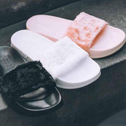 Wholesale Hot Sale Brand New Rihanna Fenty Leadcat Fur Slides Pink Black White Slide Sandal Womens Slippers Retail Mens Slipper Men Size