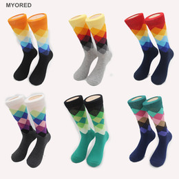 Wholesale Male Plaid Socks Tide Brand new Socks Gradient Color Paragraph summer Style Cotton Stockings Men s Knee High Business Socks golf sox