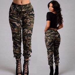 Wholesale fashion new army green Camouflage pants plus size spring autumn women casual belt lacing pocket Beam feet trousers pencil pants capris