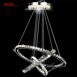 Wholesale Crystal Circle Chandelier - 3 Circles 65W LED K9 Crystal Chandelier Hot sale Diamond Ring Modern Stainless steel lamps